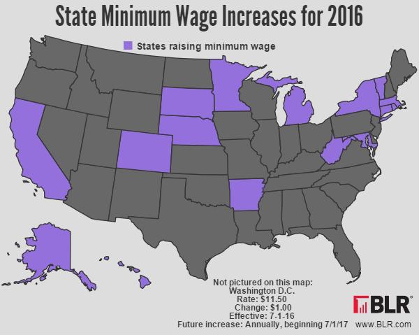 Latest HR News - Minimum wage map us