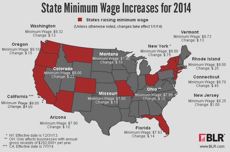 States Minimum Wage 2014 Map