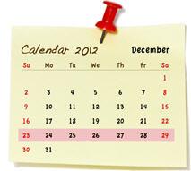calendar highlighting holiday week